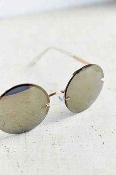 0f4e4a114b Golden Goddess Rimless Round Sunglasses