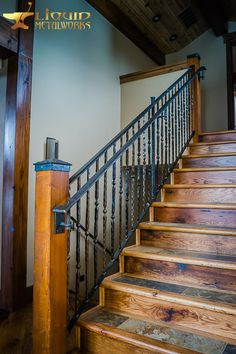 Wrought Iron Porch Railings, Rustic Home Design, Log Cabin Homes, Iron Work, Metal Working, House Design, Basements, Staircases, Shop Ideas