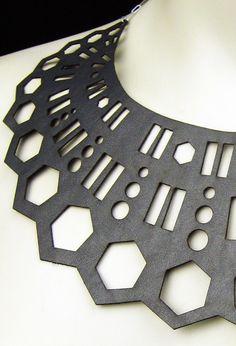 modern tribal laser cut leather Arc Necklace