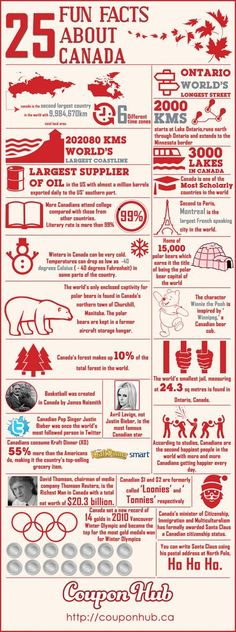 These are a few fun facts about Canada. Canada is a big country with the longest coastline. It is also one of the countries with the highest literacy rate. Find out more interesting facts about Canada in our infographics. Toronto Canada, Canada 150, Ottawa, I Am Canadian, Canadian History, Canadian Facts, Canadian Things, Canadian Symbols, Canadian Culture