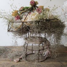 Large ornate wire mushroom filled with moss and dried roses romantic garden inspired piece shabby cottage chic home decor anita spero design