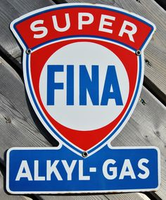 Antique Super Fina Akyl Gas Porcelain Sign (Vintage 1957 Gas & Oil Advertising Sign)