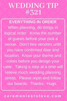 Doing things in order when wedding planning is a great stress reliever for the bride. Your wedding budget will also be thankful because you won't make the emotional purchases that come with poor planning Hugs. Wedding Planning Tips, Wedding Tips, Fall Wedding, Dream Wedding, Wedding Stuff, Wedding Ceremony, Wedding Hacks, Diy Wedding, Wedding Dreams