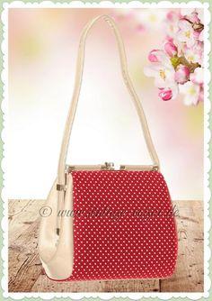 d8548616e2d23 Banned 50er Jahre Vintage Punkte Handtasche - Do you Want me  - Rot Creme  50er