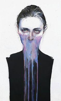 Silvia Pelissero (AKA Agnes Cecile), watercolor and oil {figurative #expressionist female head dripping woman face portrait painting}