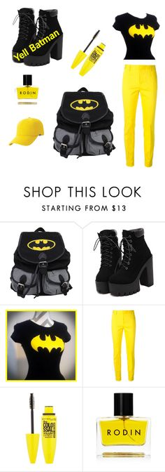 """""""Yell Batman"""" by rae-love-fashion-design ❤ liked on Polyvore featuring Dsquared2, Maybelline, Rodin and Keds"""