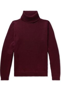 Incotex's burgundy rollneck sweater is smart and low-key, making it easy to wear with chinos or jeans. It's been knitted in Italy from soft, naturally insulating virgin wool on a 5-gauge machine to create a substantial handle. Shown here with Aspesi jacket, Officine Generale jeans, Converse sneakers. This item is small to size. See Size & Fit notes. Ski Fashion, Fashion Brands, Vogue Online, Red Turtleneck, Roll Neck Sweater, Converse Sneakers, Low Key, Burgundy, Turtle Neck
