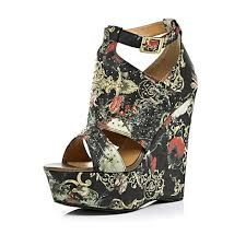 6c94d083c014 Black baroque print wedges - River Island - these would look great with the  Atsuko Kudo leggings and the tapestry satchel.