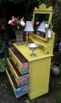 Shabby chic drawer chest vanity in Annie Sloan's English Yellow. Perfect!