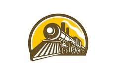 Steam Locomotive Train Icon by patrimonio on Icon style illustration of a Steam Locomotive railway Train viewed from a low angle set inside Circle on isolated background. Graphic Design Typography, Branding Design, Logo Design, Business Illustration, Pencil Illustration, Travel Icon, Steam Locomotive, Home Logo, Creative Sketches