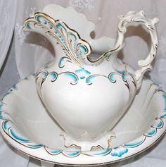 Dresden Semi porcelain Large Victorian Water Wash Basin Set Pitcher Bowl