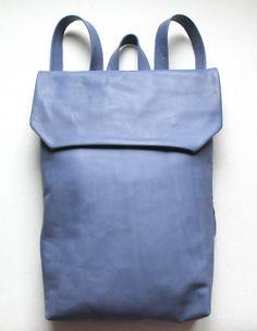 blue leather backpack by nastya klerovski