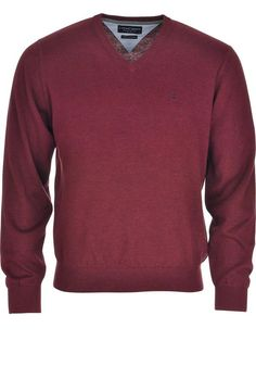 Casa Moda - Mens V-neck Knitted Sweater Jumper Burgundy - www.mcelhinneys.com