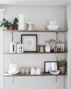 Open shelving styled like a pro by @earnesthomeco_ including our Arched Shelf Brackets crafted of solid brass. Shop this space -- link in profile.