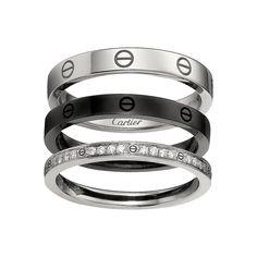 Bague LOVE, 3 anneaux - Or gris, céramique noire, diamants - Bagues de luxe pour femme - Cartier
