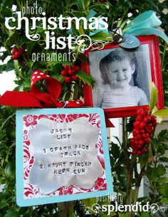 Photo Christmas List Ornament Tutorial. Display a child's photo on one side and their Christmas list on the other. A great memento to add to the tree each year! #christmas #ornaments #crafts