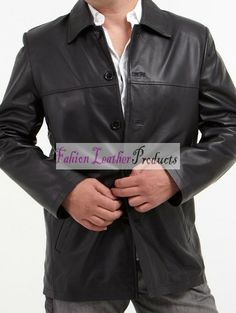 MEN'S 5 BUTTON BLACK LEATHER COAT