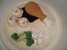 Häkelanleitung Hähnchenkeule, Blumenkohl/Brokkoli, Semmelknödel mit Soße
