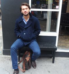 """But I'm eating a sandwich!"" #blue #menswear #satchel #jeans #coat #navy #london #covent #fashion"