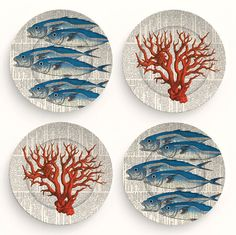 Fish and Coral - Four 10 inch Melamine Plates Ceramic Fish, Ceramic Plates, Ceramic Art, Decorative Plates, Marine Style, Deco Podge, Deco Marine, Fish Design, Fish Art