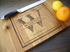 200DKK - EU  Handmade Wood Cutting Board - SOLID FAMILY MONOGRAM. Custom Lazer engraved. Gift for Wedding, anniversary and useful  in every house.