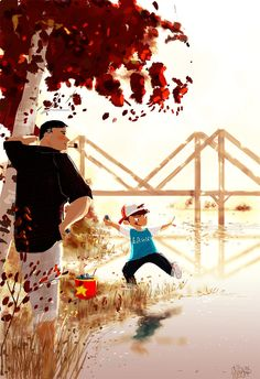 The important lessons #pascalcampion  _Come on Monkey.. you can do it...Make it hit the water at a level angle. _Like that? _...two, three, four, FIVE, SIX....and a half skips!!!! WOW!  _You're the best teacher Pop! _Just doing my job -You're good at it! _That's because I love it.