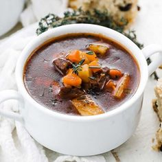 This damn delicious homemade Irish beef stew recipe that is jam packed with root vegetables, beef stew meat and herbs that are simmered in a traditional dark stout beer broth. #stew #beefstew #irish Meat Recipes, Gourmet Recipes, Lamb Recipes, Crockpot Recipes, Irish Beef Stew Recipe, Beef Stew Meat, Homemade Chili, Thing 1, Best Chef