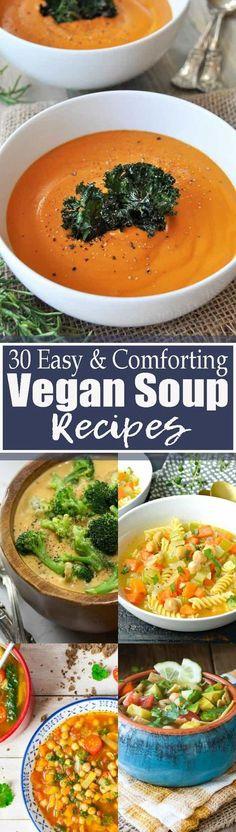30 vegan soups. Find more vegetarian recipes at veganheaven.org