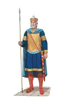 Roman Emperor Basil II the Bulgar Slayer in parade armour, circa 1017 AD. Artwork by Tom Croft.