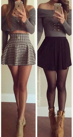 off shoulder crop top with pretty skirts