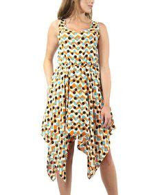Another great find on #zulily! Mustard Polka Dot Zigzag Handkerchief Dress by Design 26 #zulilyfinds