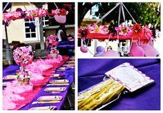 Tangled Party kid's table and favors summerspastryperfect.com