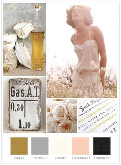 Soft Summer colorboard: gold, tin pail, wool, soft peach, midnight.