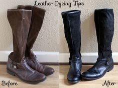 just what I was looking for .. Dyed boots before and after (Tips)
