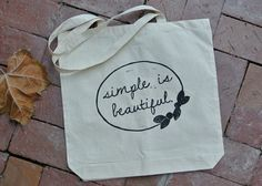 Cotton Bag  Simple is Beautiful by samanthahirstprints on Etsy