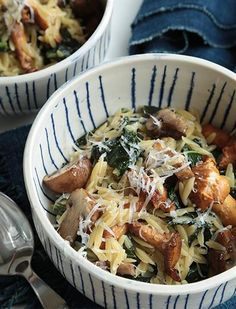 Cheesy Faux Risotto with Kale & Mushrooms