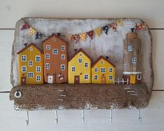 Items similar to driftwood art.Driftwood Key Hanger on Etsy driftwood art. Driftwood Wall Art, Driftwood Sculpture, Driftwood Crafts, Small Wooden House, Wooden Houses, Mundo Hippie, Wood Projects, Craft Projects, Diy And Crafts