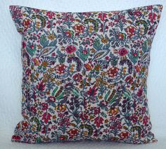 """Indian Handmade Kantha Stitched Floral Cushion Cover Throw Pillow Case Decor 16"""" #Handmade #Traditional"""