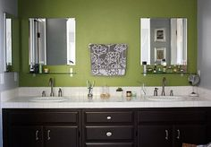 pretty simply bathroom. love the bold color wall with basic everything else.