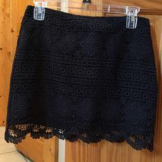 Black mini skirt Like new black crochet look mini skirt no signs of wear. Smoke free pet free home. Looks great with heels, flats or sandals. Very versatile.  Make me an offer. Gudi Skirts Mini