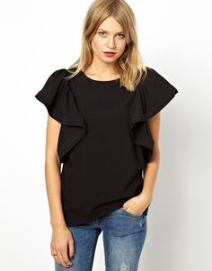 ASOS Shell Top with Dramatic Ruffle Sleeve! LOVE!