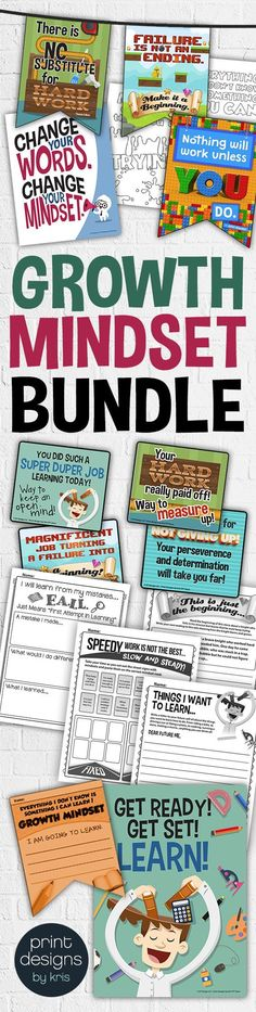 Growth Mindset Elementary Classroom Bundle has so 20 creative and original poster designs with matching activities, banners, worksheets, bulletin boards, teacher notes, coloring pages and more! Grab it all at this link or pick and choose from the different options.