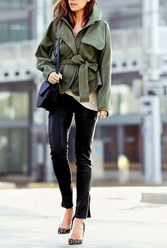 Olive tied coat leather leggings and leopard pumps | Marissawebbnyc