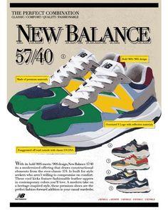每款鞋的吸塑鞋盒包裝的硬卡紙,均參考自舊時代美式手繪廣告的57/40海報,每對鞋的海報各有不同。(DAHOOD HUB) 90s Design, New Balance, Footwear, Sneakers Nike, Classic, Style, Nike Tennis, Derby, Swag