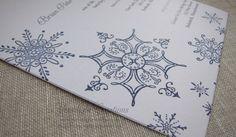Navy Snowflakes Embossed Winter Wedding Invitation   Moonlight Creations