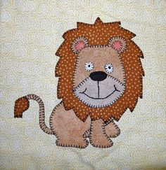(7) Name: 'Quilting : Baby Lion Applique Block