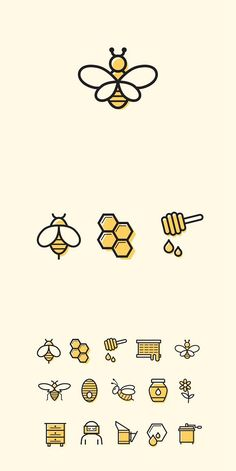 15 Bienen- und Honig-Symbole - - Bullet Journal - 15 bee and honey s Bullet Journal Ideas Pages, Bullet Journal Inspiration, Doodle Drawings, Easy Drawings, Bee Art, Bee Design, Icon Design, Bee Happy, Save The Bees