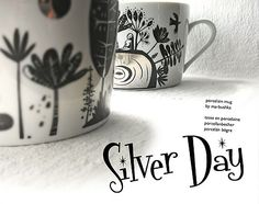 Silver Day mug - by MARBUSHKA TOY FACTORY Hungary, Porcelain, Toy, Mugs, Tableware, Silver, How To Make, Porcelain Ceramics, Dinnerware