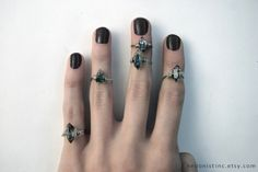 Silver Black Phantom Quartz Midi Ring by HedonistINC on Etsy, $6.99