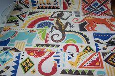 Leinenoptik Afrika Gecko Giraffe Nashorn Dekostoff von Rotznaeschenmode auf DaWanda.com